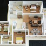 mẫu chung cư 3 phòng ngủ có khu ăn uống ngoài trời
